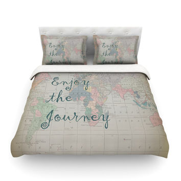 "Catherine Holcombe ""Journey"" World Map Featherweight Duvet Cover"