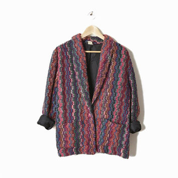 Vintage Multicolored Oversize Boucle Sweater Jacket - l