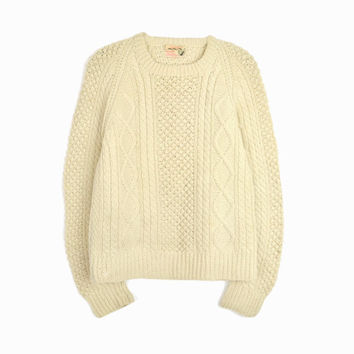 Vintage 60s Irish Wool Fisherman Sweater in Cream / Cable Knit Sweater - women's small