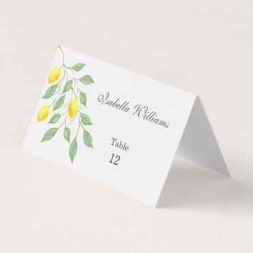 Modern Watercolor Lemon Summer Wedding Place Card