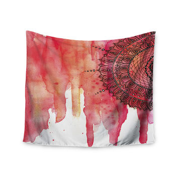 "Li Zamperini ""Red Mandala"" Red Black Wall Tapestry"
