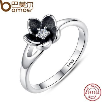 BAMOER Authentic Mystic Floral Flower Stackable Ring CZ & Black Enamel 925 Sterling Silver