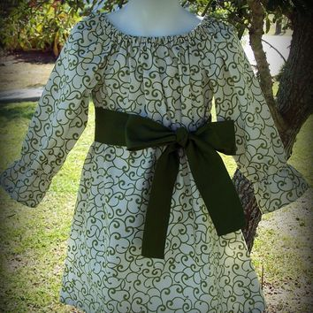 Custom Boutique Clothing Girls Christmas / Special Occassion Peasant Dress, Sizes 0-3mos-8yr