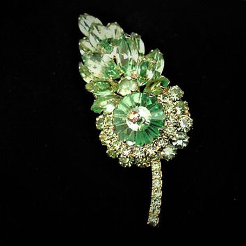 Vintage Juliana DeLizza Elster D & E Rhinestone Brooch Verified D E Vaseline Glass Margarita Aurora Borealis AB Mid Century 1960s Hollywood