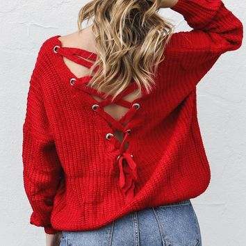 Cocktail Casual Red Lace Up Back Sweater