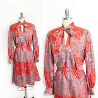 Vintage 1960s Dress - Red Printed Silk Pussy Bow Day Dress 60s - Medium M