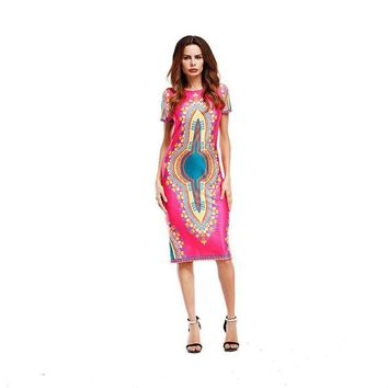ONETOW Woman African Dress 2017 traditional African Dashiki Print Dresses Women Clothing Summer Sexy O-Neck Casual Bodycon Femme Robe