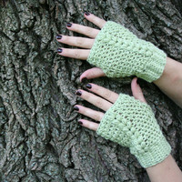 Fingerless Mitts - Green Fingerless Gloves - Soft Green Texting Mitts