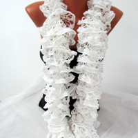 Wedding - Bridesmaid -Curly Scarf Women - Ruffled Scarf - Gift for Mom - Ruffled White - READY TO SHIP