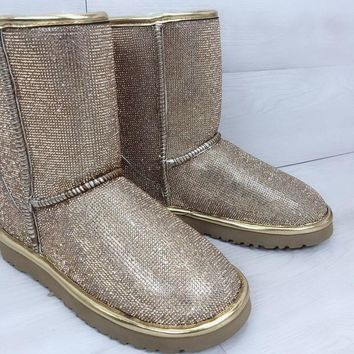 DCCK UGG pearl rhinestone warmth in the tube snow boots gold