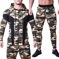 Men Sports Set Running Gym Tracksuits Mens Hoodies+Pants