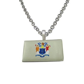 New Jersey State Flag Pendant Necklace
