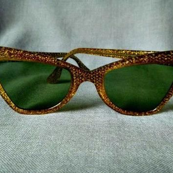 Fabulous Glittery Gold Cat's Eye 1960s B & L Ray Ban USA Sunglasses, Green Glass Lense