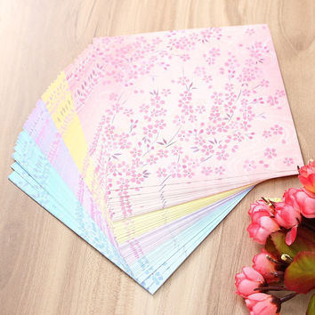 60Pcs/set Double Sided Printing Flower Floral Japanese Origami Folding Paper DIY Scrapbooking Craft Paper Kid Gift 14.5*14.5cm