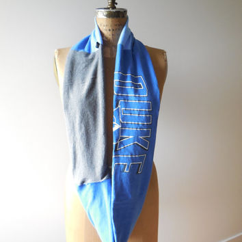 Duke University T Shirt Infinity Scarf / Blue / Gray / Blue Devils / Recycled / Upcycled / Winter / Cotton / Soft / Gift Under 50 / ohzie
