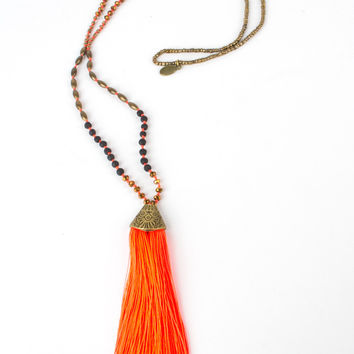 Zacasha Neon Orange Tassel Necklace