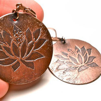 Lotus Earrings Etched in Earth Toned Copper- Leverback