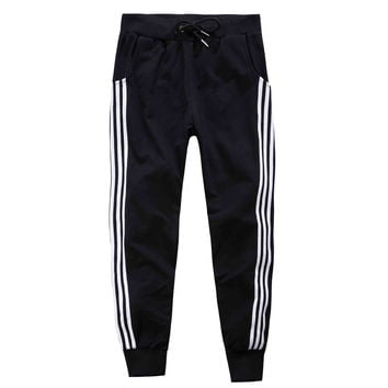 Women Pants 2016 Women Sport Pencil Pants Casual Loose Stripe Pants Sweatpants Trousers Women Joggers Spring Capris QY202