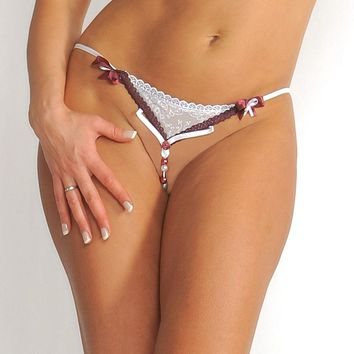 Crotchless G-String with Candy Cane Bead Strand