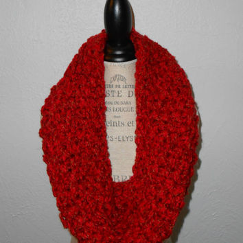 Red Infinity Scarf Cowl Hood Chunky Handmade Knit Red Rose & Tan Varigated For Valentines Day