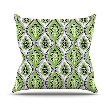 "Jacqueline Milton ""Oak Leaf - Lime"" Green Floral Outdoor Throw Pillow - Outlet Item"
