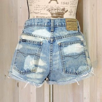 "High waisted shorts / distressed denim shorts / size 7 / 8 / 30"" waist / 90s Jordache"