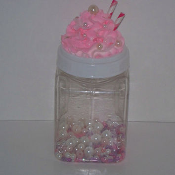 Faux Pearls Pink Frosted Plastic Canister, Containers, Jars,  Lids with Fake Frosting, Organize Craft Room, great for Ribbons, Buttons