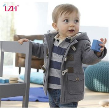 Classic Duffle Coat Wool Jacket with Wooden Buttons and Hood