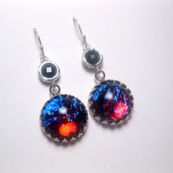 Black Dragons Breath Mexican Opal Sterling Silver Dangle Earrings