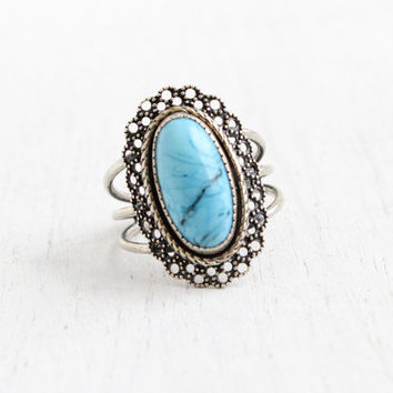 Vintage Sterling Silver Blue Stone Ring - Retro Hallmarked Beau Adjustable Tri Band Filigree Simulated Turquoise Jewelry