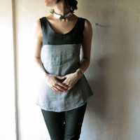 Linen tunic tank top - grey and  black short sleeveless tunic - scoop neck tank womens size small