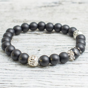 Matte black onyx and dragon vein beaded stretchy bracelet, mens bracelet, womens bracelet