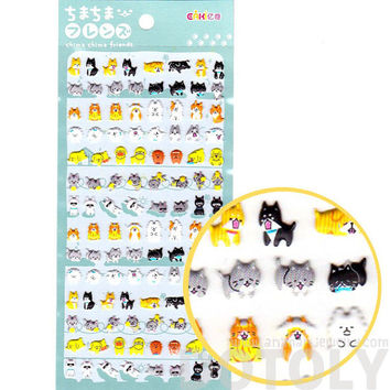 Tiny Kitty Cat and Dogs Shaped Puffy Stickers for Kids | Cute Animal Themed Scrapbook Decorating Supplies