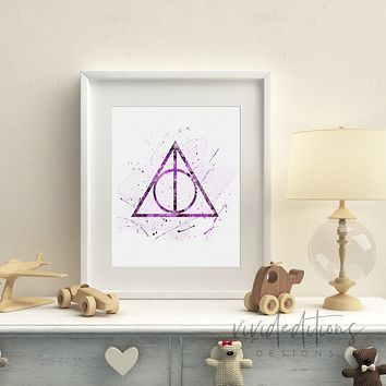 The Deathly Hallows 2, Harry Potter Watercolor Art Print