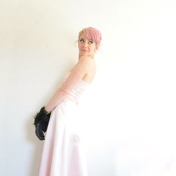 pastel pink unicorn prom dress . sequin satin 2 piece gown .small