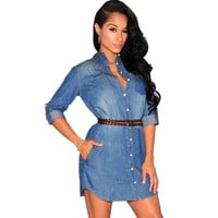 Lady Women's Medium Sleeve Turndown Neck Denim Mini Dress