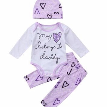 "Newborn Baby Girls 3 Pc Shirt, Pants and Hat Set ""My Heart Belongs to Daddy"""