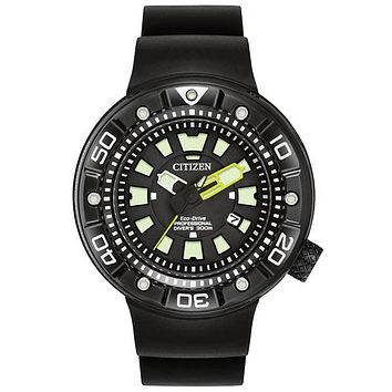 Citizen Eco-Drive Mens Promaster ISO Dive Watch - Helium Release - Black Steel