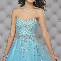 Beaded Strapless Sweetheart Tulle Dress