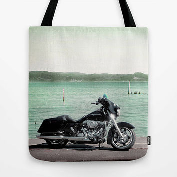Harley Davidson, motorcycle, photo bag, tote, shopping, market tote, beach, MEDIUM, summer, bluegreen, biker gift, motorist, travel, leisure