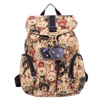 Cute Bear Floral Print Canvas Backpack