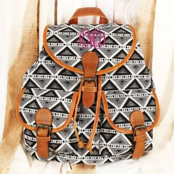 Monogrammed Trendy Triangle Backpack Monogrammed Aztec Backpack Monogrammed Tribal Backpack Monogrammed Backpack