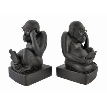 Pair of Reading Monkey Bookends Cast Iron Finish