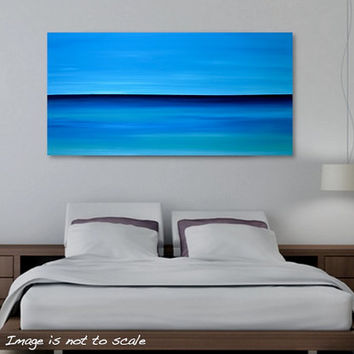 Large 48 x 24 Abstract Seascape Painting - Original Minimalist Ocean Horizon Canvas Acrylic Wall Art Decor - Blue Sky, Turquoise Sea - Huge