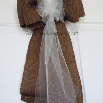 "11"" Chocolate Brown Rustic Burlap Wedding Pew Bows Shabby Chic Vintage Burlap Wedding Bows Large Burlap Home Decoration Bows"