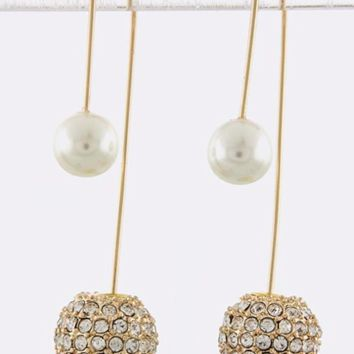 Double-Sided Dangle Earrings (Crystal & Pearl)