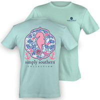 Simply Southern Preppy Seahorse T-Shirt in Mint