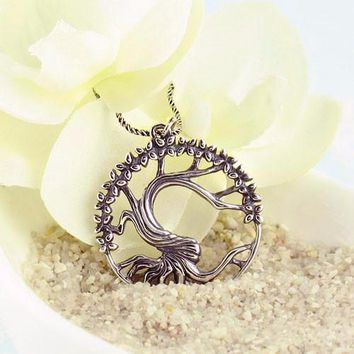 Old Tree with Flowers Medallion Necklace