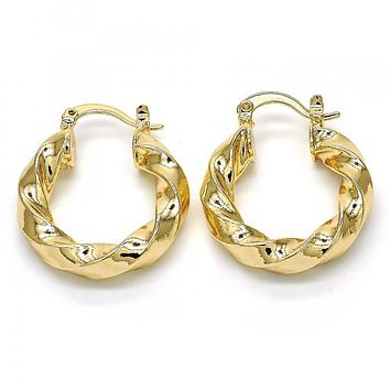Gold Layered 02.261.0032.25 Small Hoop, Twist Design, Polished Finish, Golden Tone