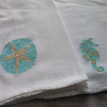 Flour sack towel, beach kitchen, sand dollar, sea horse, kitchen towel, tea towel, sea life, ocean kitchen decor, embroidered towel, beach